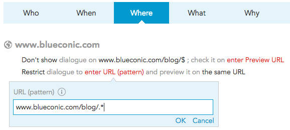 how to show or hide content based on URL of the page in BlueConic
