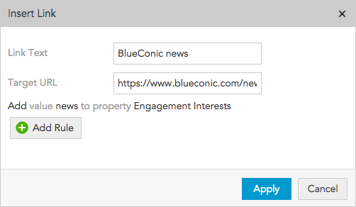 How do I edit hyperlinks in the BlueConic content editor?