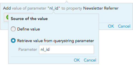 How do I pick up quertystring parameters in tracking URLs in BlueConic?