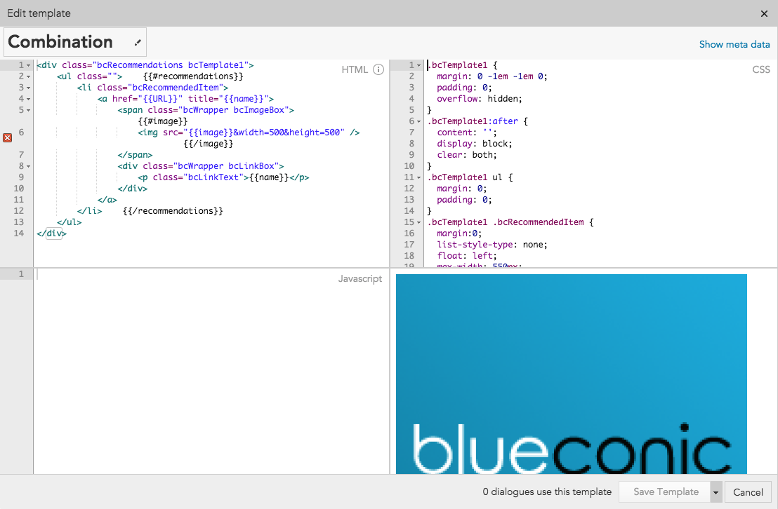 How to use CSS, HTML, and JavaScript to create custom recommendation templates with BlueConic