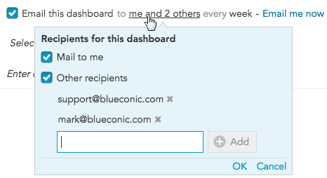 How do I add email recipients to BlueConic insights sent by email?
