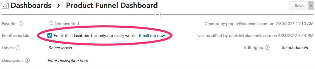 How do I email insights and dashboards to share marketing metrics and reports in BlueConic?