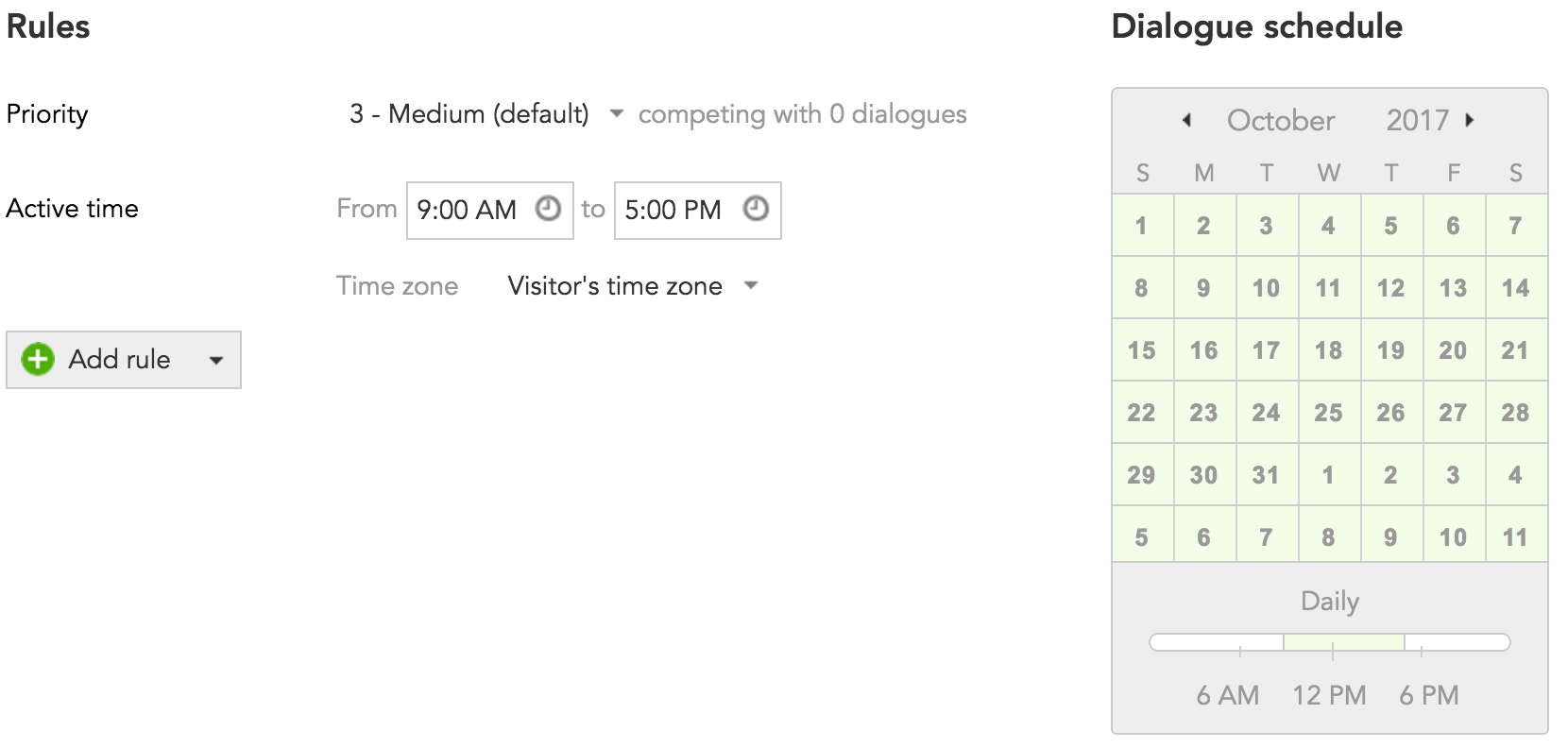 How to set the active time for a custom content Dialogue in the BlueConic marketing CDP