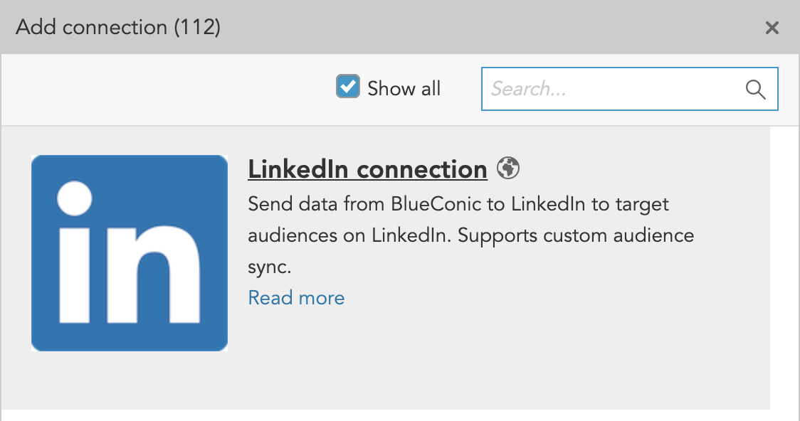 How do I create a connection between BlueConic and LinkedIn?