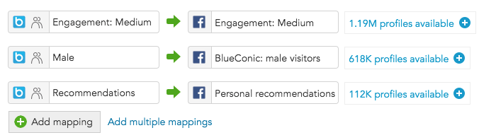 How do I map BlueConic segments to Facebook custom audiences via the BlueConic connection?