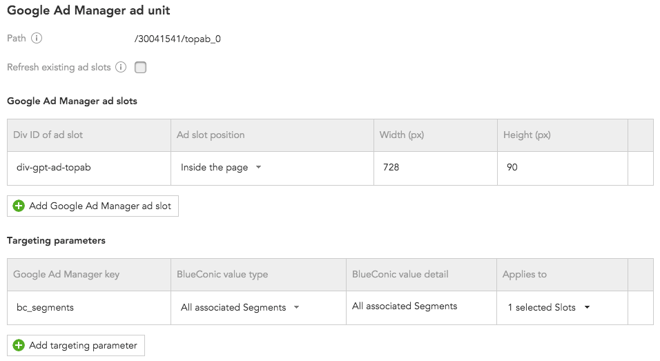 How to configure the Google Ad Manager connection to synchronize marketing data with BlueConic customer profiles