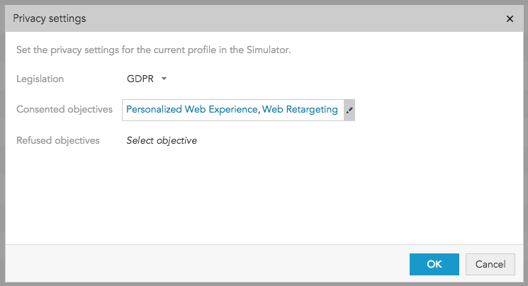 How do I see the persmission level and privacy settings for a certain profile in BlueConic?