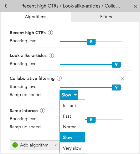 How do I set the ramp-up speed of profile-based personalization algorithms in BlueConic?