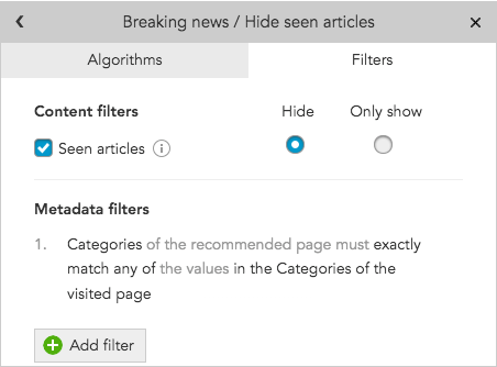 How do I use metadata to include or exclude content in BlueConic personalization content recommendations?