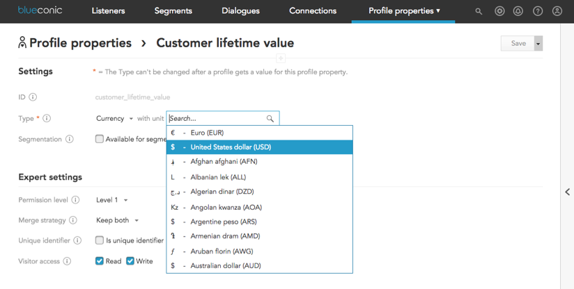How to calculate customer lifetime value in BlueConic customer data platforms