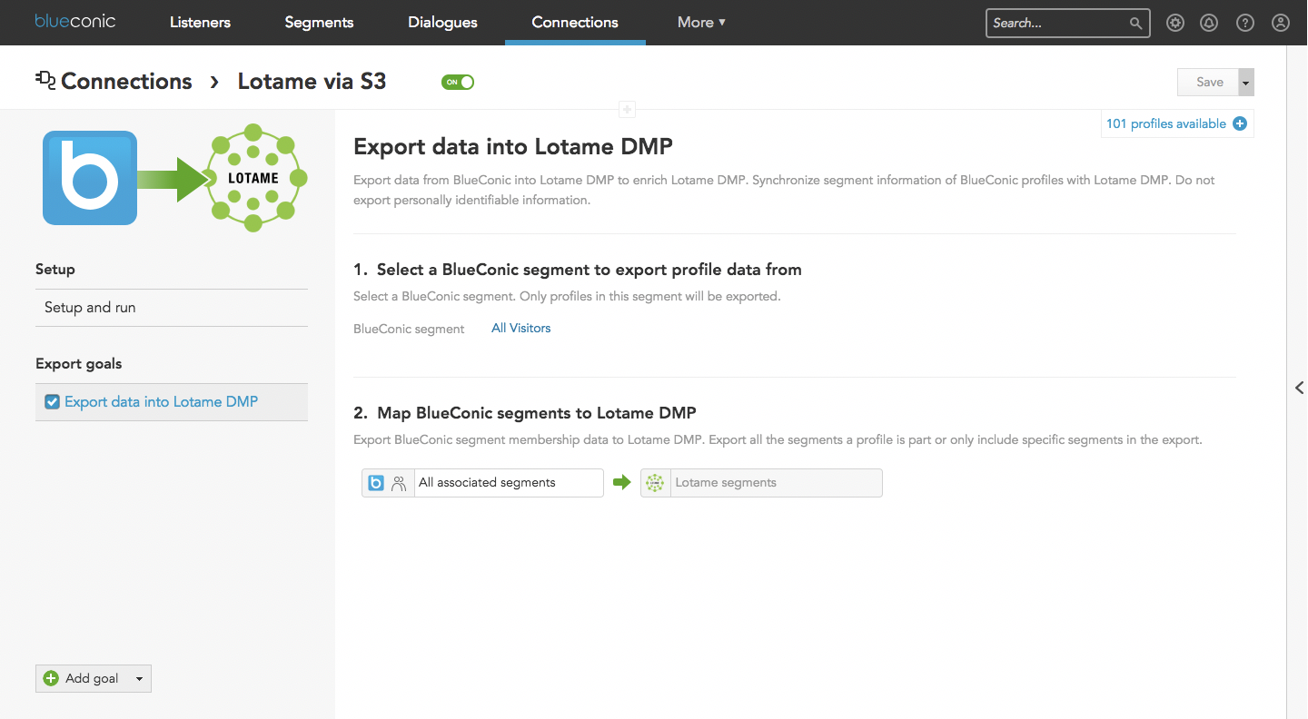 How to connect BlueConic first-party customer data to Lotame DMP