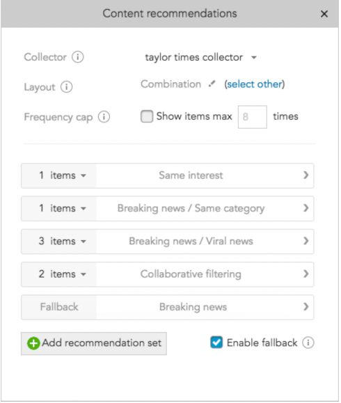 How to enable fallback items for BlueConic personalizatin and content recommendations sets