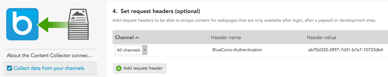 How do I use request headers to collect content recommendations behind a paywall using HTTP request headers in BlueConic for personalization?