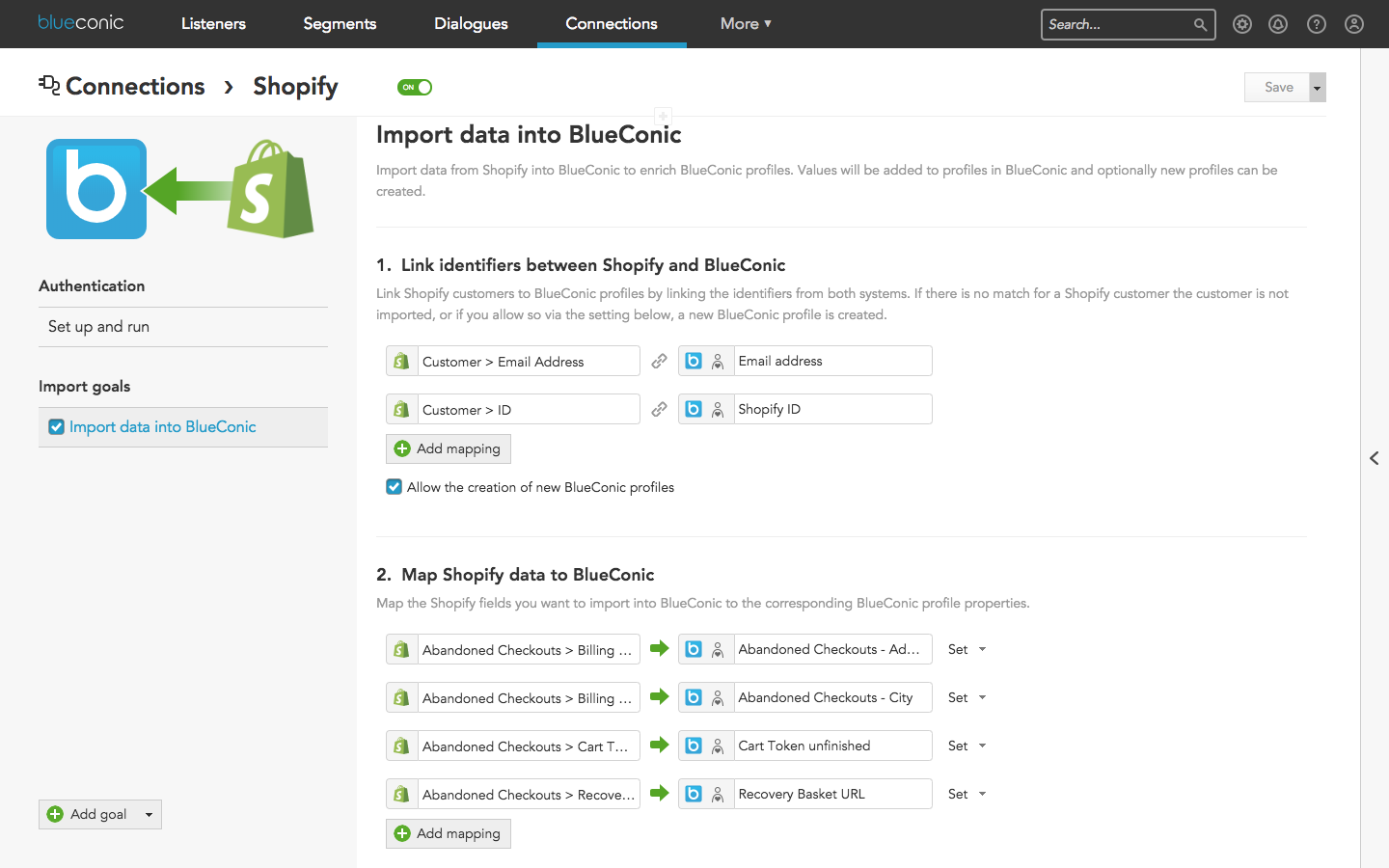 How to import Shopify data into BlueConic to sync order and shopping cart data with BlueConic profiles