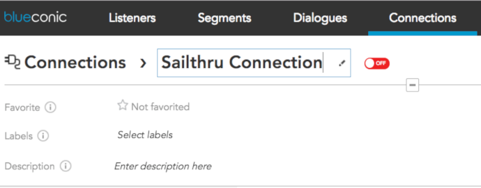 How to create a connection between BlueConic and Sailthru to exchange customer data