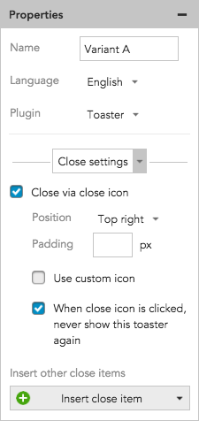 How to set Toaster slide, fade, and close settings in BlueConic