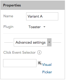 How to set advanced JavaScript display settings and set click events for a Toaster in BlueConic