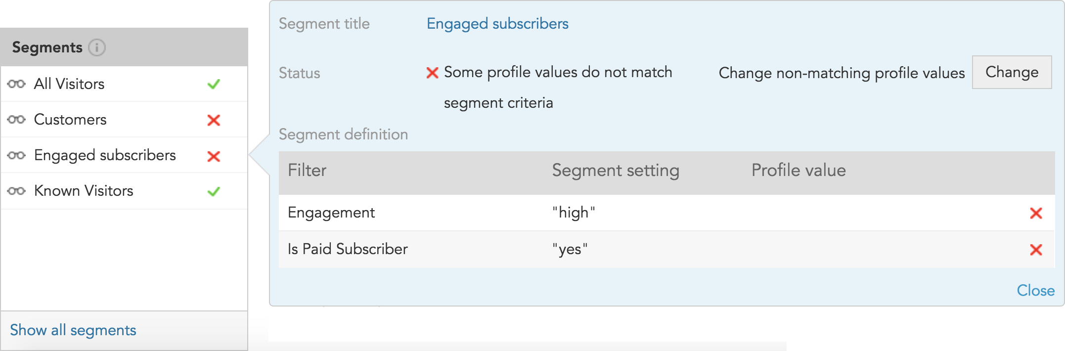 How do I use the BlueConic simulator to see customer segments?