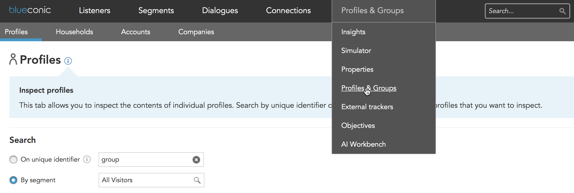 How do you associate profiles into families households accounts or company groups in BlueConic?