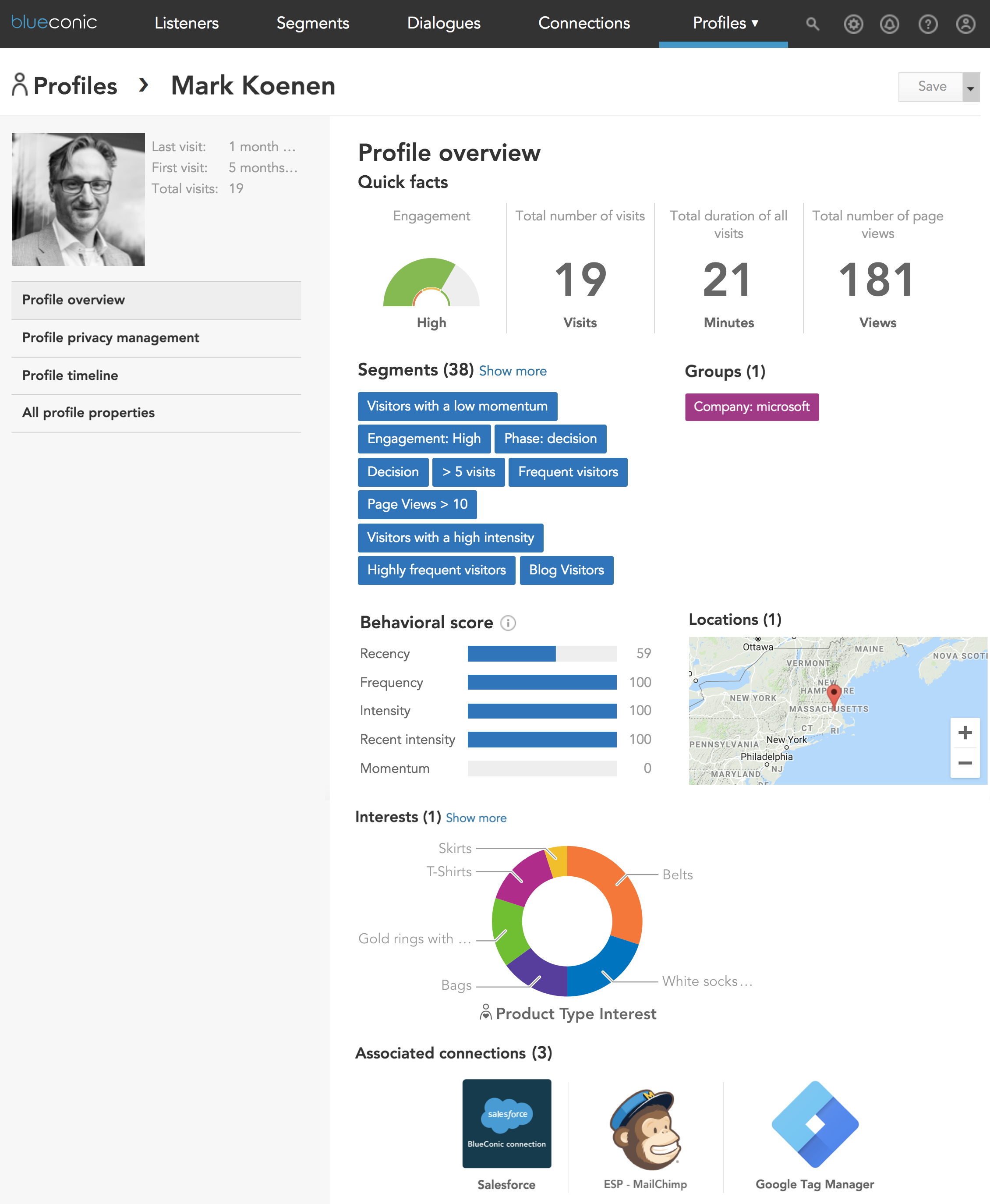 How to see detailed information and behavioral profile data in BlueConic marketing customer profiles