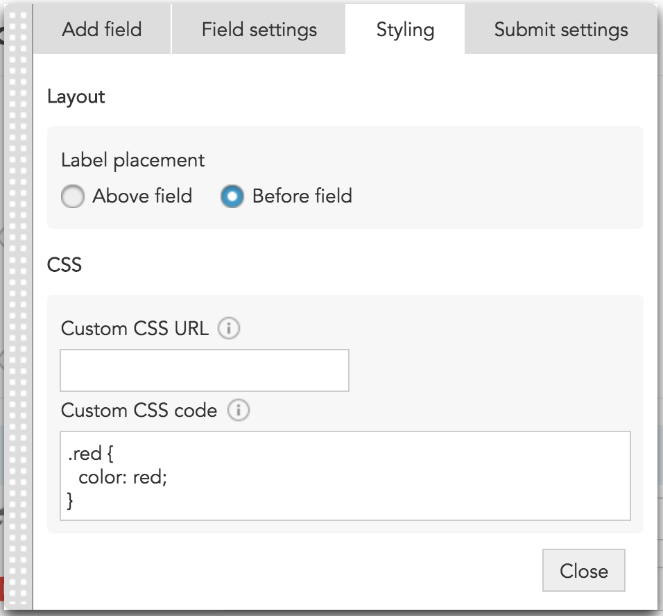 How to add click tracking and style options to a customer submit form in BlueConic