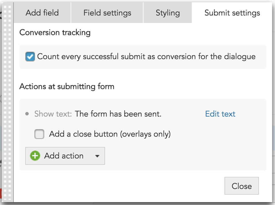 How to add submit button settings in the Forms Toolbar in BlueConic