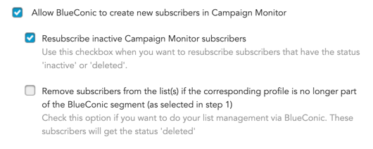 How to allow the creation of new campaign monitor subscriptions via BlueConic connections