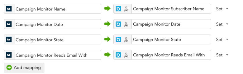 How can I map my profile properties in BlueConic to fields in Campaign Monitor?