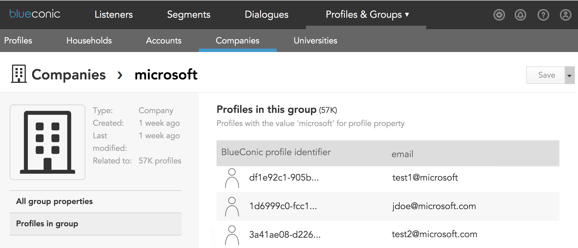 Where do I see which profiles are grouped into a company, group, household, or account in BlueConic?