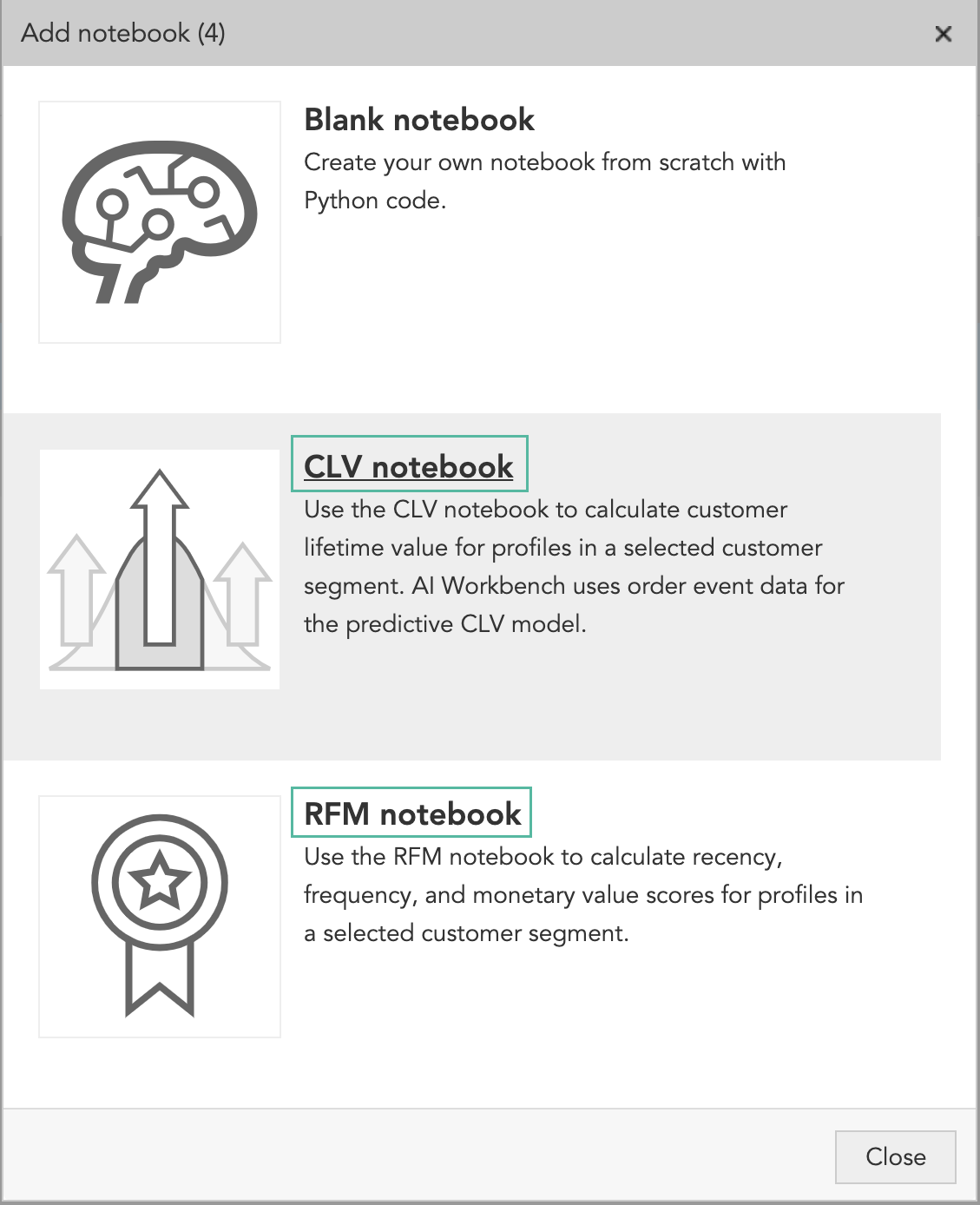 How to use AI marketing and AI machine learning to calculate CLV and RFM marketing models for customer segments in BlueConic CDP's AI Workbench