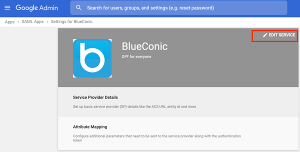 How do I add the BlueConnic service as an app for SAML-based Single Sign-On (SSO) with BlueConic?