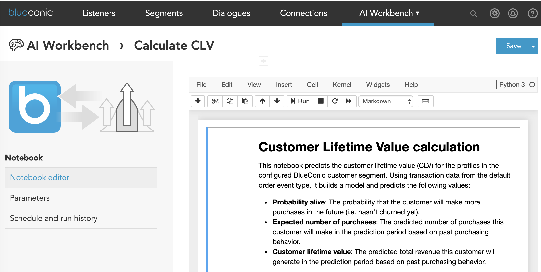 How to calculate CLV using AI models, AI marketing, machine learning, and predictive analytics for marketing with customer data and customer segments in the BlueConic CDP