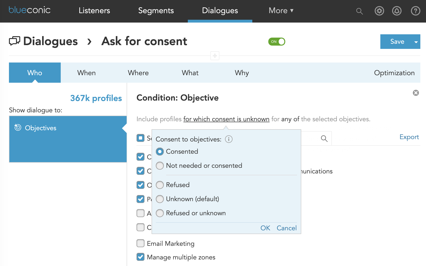How do I let customers ask for privacy and marketing consent before customer profiling in BlueConic?