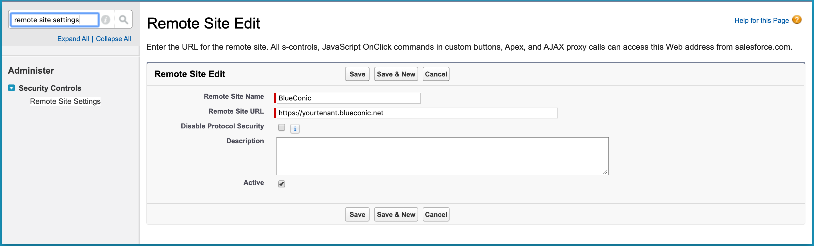 How do I create a remote site connection between Salesforce and the BlueConic customer data platform?