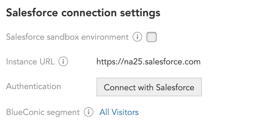 How do I configure the BlueConic Salesforce connection?