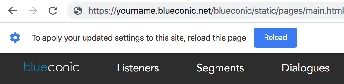 How do I resolve a Chrome browser error in the BlueConic customer data platform?
