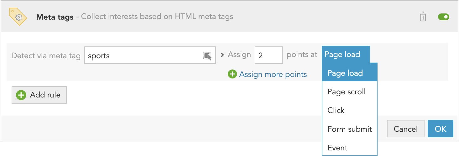 How to detect customer interests from HTML metadata and meta tags on page and on site with BlueConic