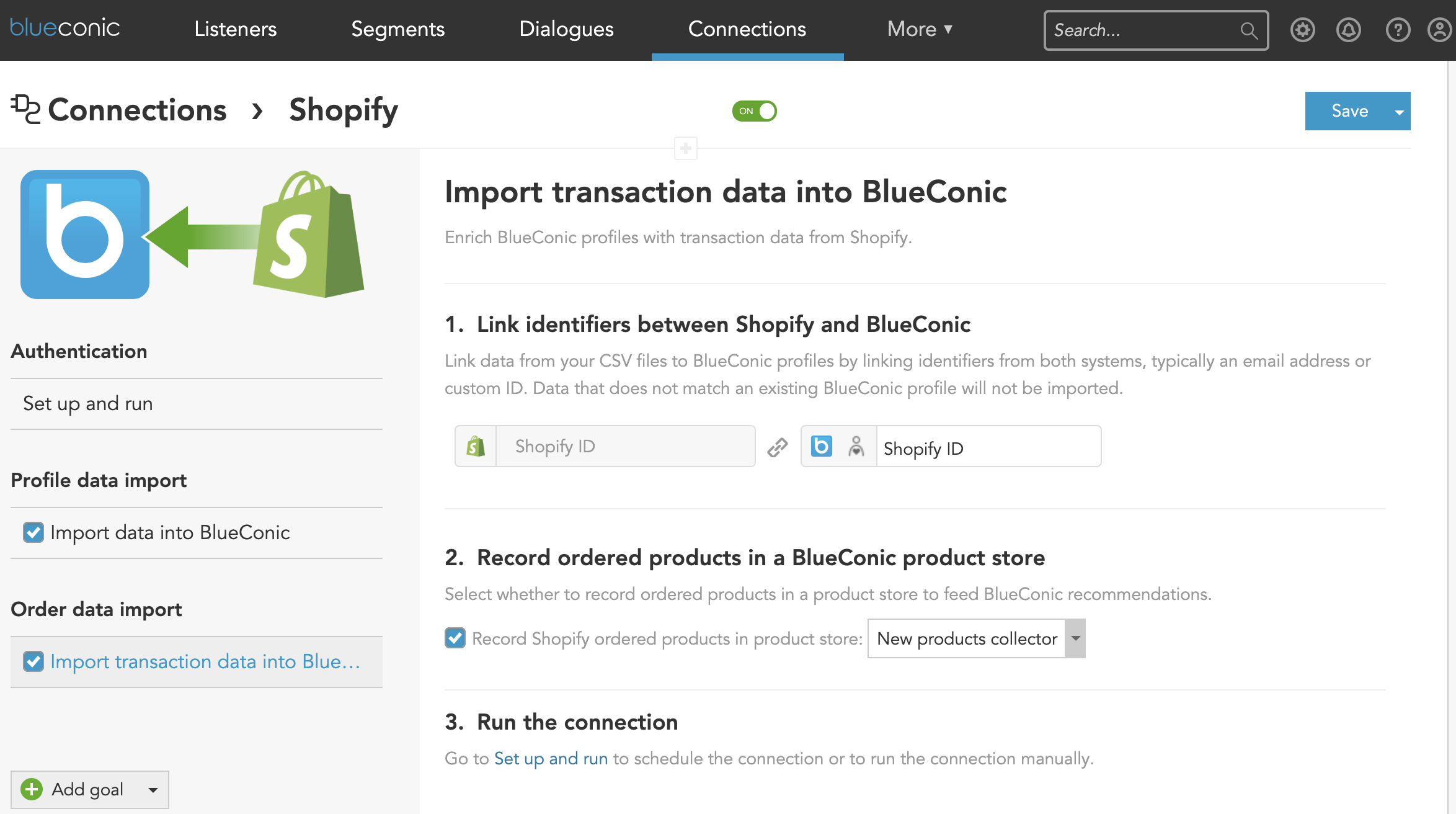 How to import Shopify customer order data into customer profile timelines using the ecommerce Shopify Connection in the BlueConic customer data platform