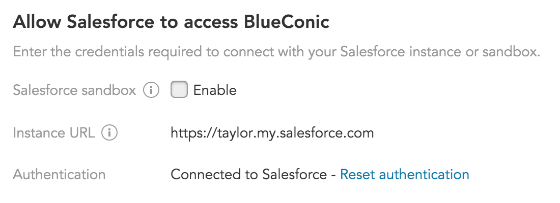 How do I set up a connection between the Salesforce Platform and BlueConic customer data platform?