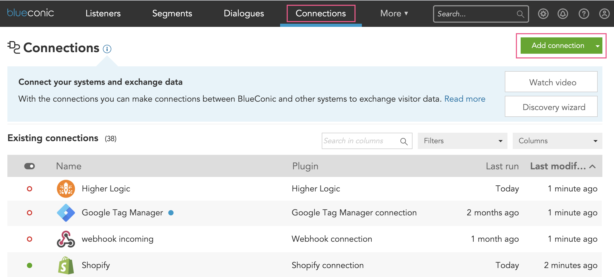 Connections Overview, showing how to create a connection in BlueConic. How do I exchange customer data with martech systems using the BlueConic customer data platform?