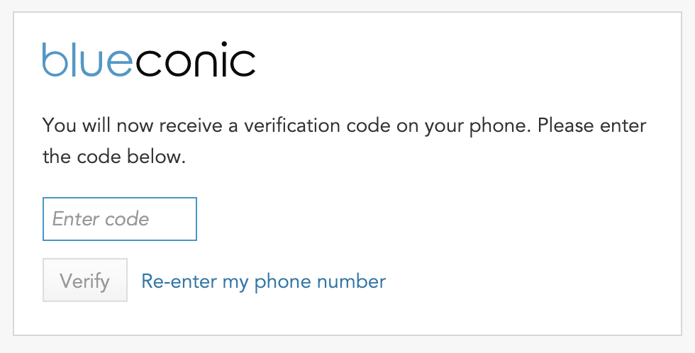 BlueConic phone verification code for resetting your forgotten password