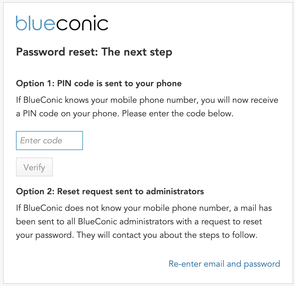 What if I forget my BlueConic password? How do I reset it?