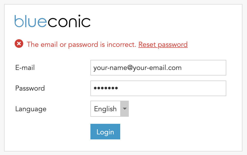 How to reset your password in BlueConic