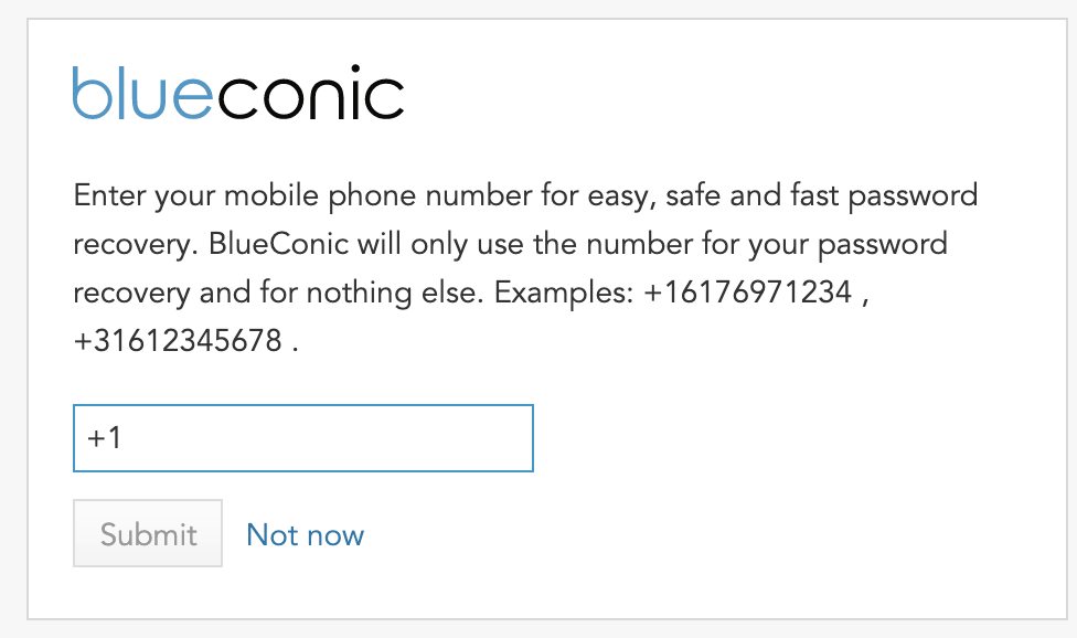 How to add your cellphone or mobile number to BlueConic for password resets