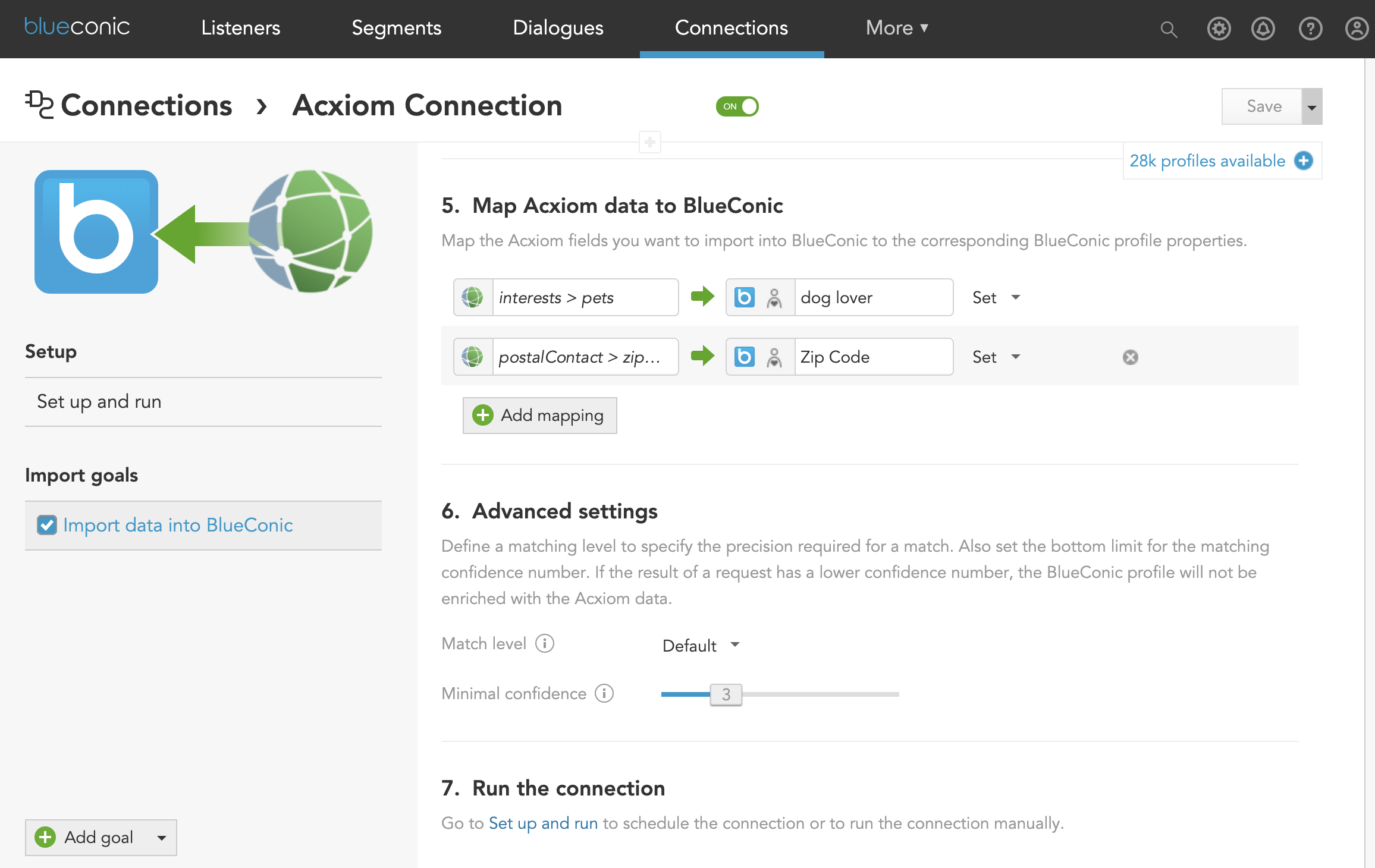 How to exchange customer profile data between BlueConic, martech systems, and Acxiom