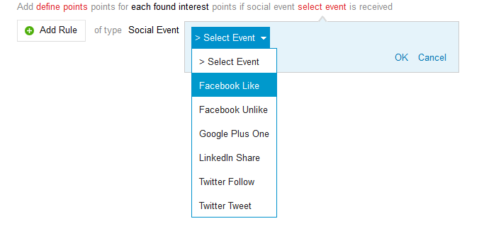 How to listen for social events and Facebook LinkedIn or Twitter sharing in BlueConic