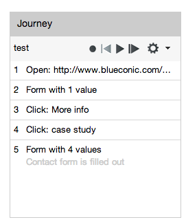 How do I use the BlueConic simulator to see the journey recorder?