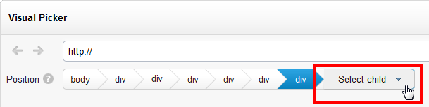 How to use the Select Child dropdown menu in the BlueConic visual picker