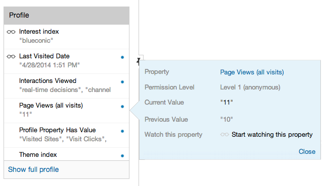 How do I see a profile property in the BlueConic site Simulator?