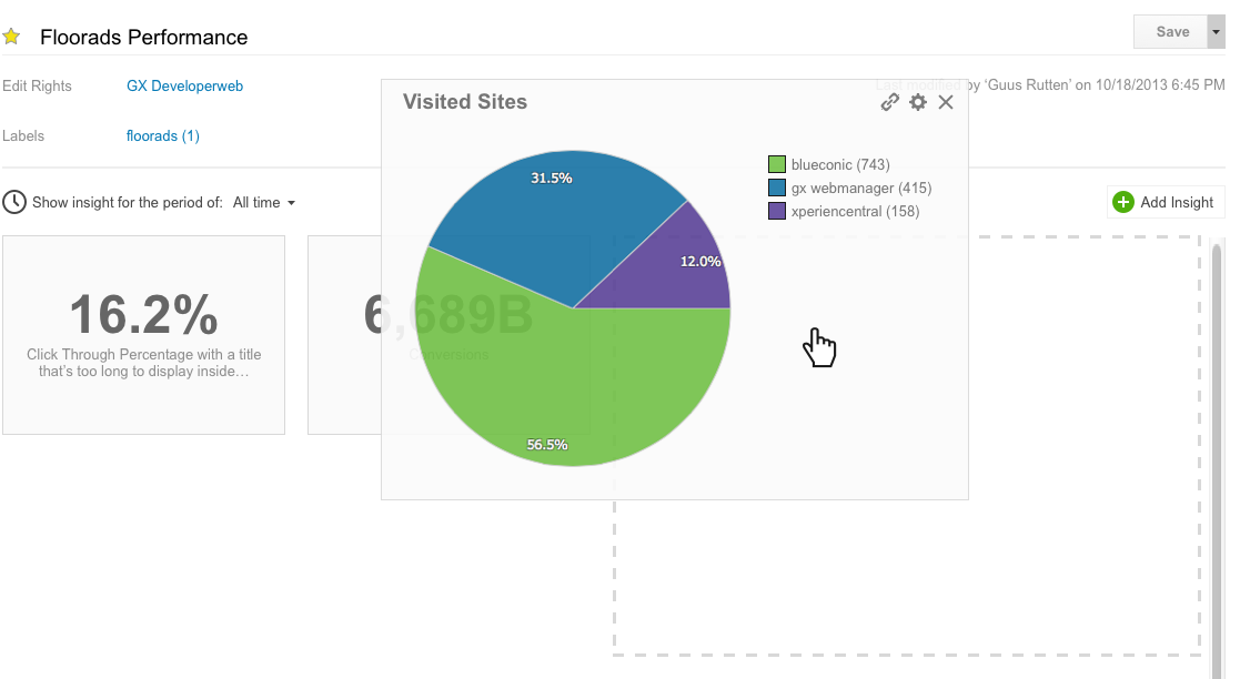 How do I move insights on a dashboard for marketing metrics in BlueConic